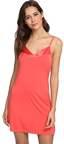 GYS Womens Bamboo Viscose V Neck Full Slip (M, Peach Pink)