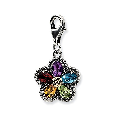 Roy Rose Jewelry Sterling Silver with 14K Yellow Gold Antiqued Multi Gemstone Flower w/Lobster Clasp (14k Gemstone Brooch)