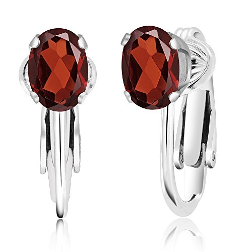 Gem Stone King 925 Sterling Silver Red Garnet Clip-On Earrings, 1.80 Cttw Oval 7X5MM
