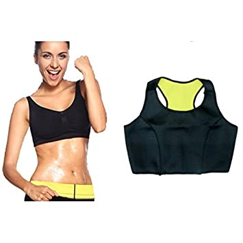 18f576c4df Buy Tranez Trading Hot Shapers Hot Shaper Bra - Yellow and Black and  Keyring (Size-(M) 75 Cm 34 Inches) Online at Low Prices in India - Amazon.in