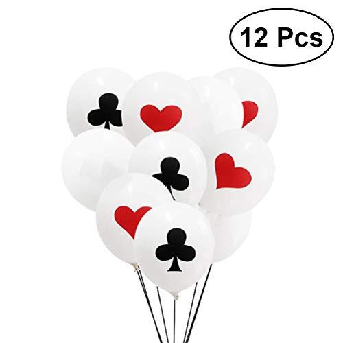 Toyvian Poker Party Balloons - Casino Card Night Decor, 12Pack Hearts Club Latex Balloons