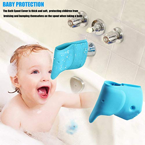 Bath Spout Cover- Bathtub Faucet Cover for Kid Bath Tub Faucet Extender Protector for Baby - Silicone Soft Spout Cover Baby Blue Elephant Child Bathroom Cute Accessories for Bathroom Safety(2pack) by Bath Spout Cover (Image #1)