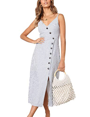 Blooming Jelly Womens V Neck Dress Sleeveless Spaghetti Strap Button Down Striped Summer Casual Midi Dresses(XL,Grey and White)