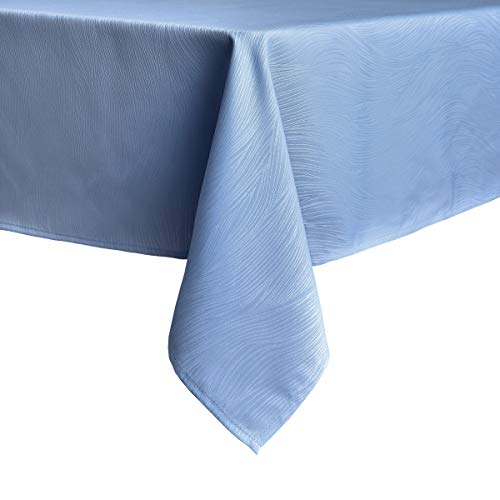 maxmill Jacquard Tablecloth Swirl Design Water Resistance Antiwrinkle Oil Proof Heavy Weight Soft Table Cloth for Buffet Banquet Parties Event Holiday Dinner Square 52 x 52 Inch Sky Blue