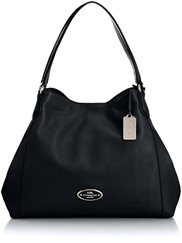 Coach Womens Edie Pebbled Leather Shoulder Handbag Black Medium price tips cheap