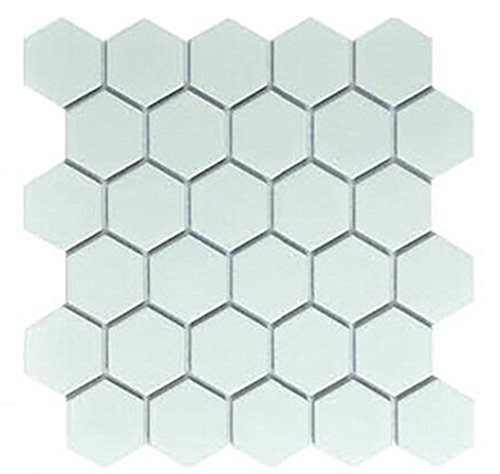Sq Ft White Inch Hexagon Matte Porcelain Mosaic Tiles - 10 inch hexagon tile