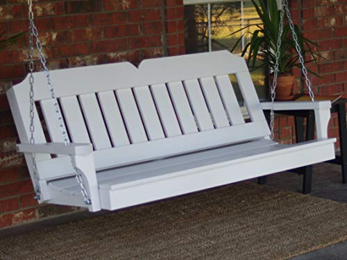 THREE MAN Painted White Victorian Porch Swing with Hanging Chain - 4 Foot