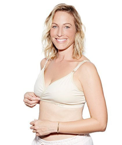 (The Dairy Fairy Arden- All-in-One Nursing and Hands-Free Pumping Bra, NAKED Cream, Medium)