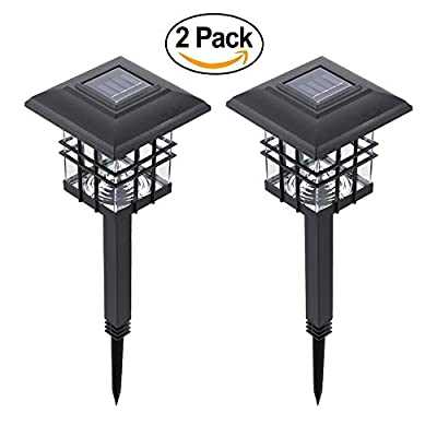 Tomshine Solar Garden Path Lights Outdoor Lantern Landscape Lighting Post Cap Lamp 2-IN-1 Pathway Light (2 Pack)