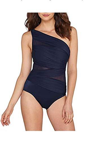 Miraclesuit Women's JENA One Shoulder Asymmetrical Neckline One Piece Swimsuit (16, Midnight)