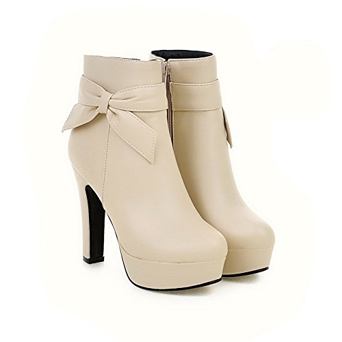AdeeSu Ladies Chunky Heels Spun Gold Bowknot Platform Imitated Leather Boots Beige 6a0Nw8g6