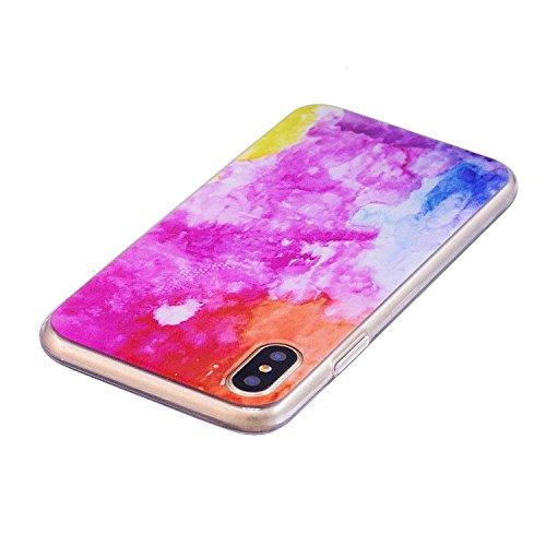 iphone 8 Custodia , Leiai Moda Colore Nuvola Silicone Morbido TPU Cover Case Custodia per Apple iphone 8