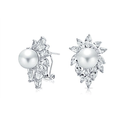 Bridal Leaf AAA CZ Marquise White Simulated Pearl Stud Earrings For Women For Wedding Omega Back Silver Plated Brass ()
