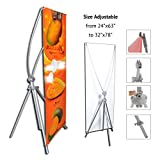 TheDisplayDeal Adjustable Aluminum Banner Stand Fits Any Banner Size from 24''X 63'' to 32''X78''