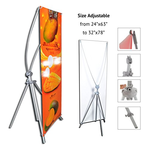 TheDisplayDeal Adjustable Aluminum Banner Stand Fits Any Banner Size from 24''X 63'' to 32''X78'' by ThedisplayDeal