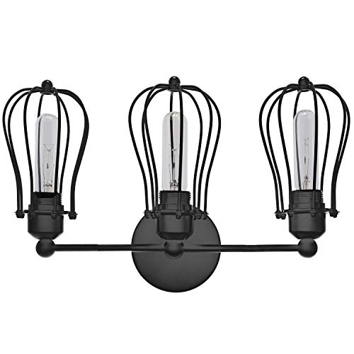 (Barnyard Designs 3 Light Vanity Light Industrial Rustic Farmhouse Wall Light Fixture, Black)
