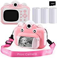 Barchrons Instant Print Digital Kids Camera 1080P Rechargeable Kids Camera for Girls Video Camera with 32G SD