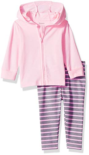 Hanes Ultimate Baby Girls Flexy 2 Piece Set (Pant with Zippin Knit Hoodie), Pink/Grey Stripe, 12-18M