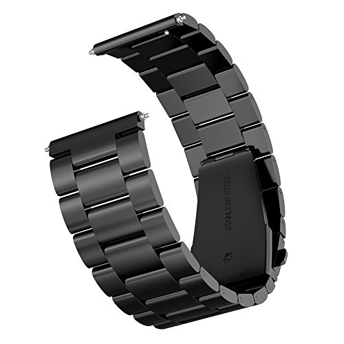 INFILAND Gear Sport/Gear S2 Classic Watch Band, Stainless Steel Metal Replacement Strap Wrist Band for Samsung Gear Sport SM-R600/ Gear S2 Classic SM-R732 & SM-R735 SmartWatch - Black