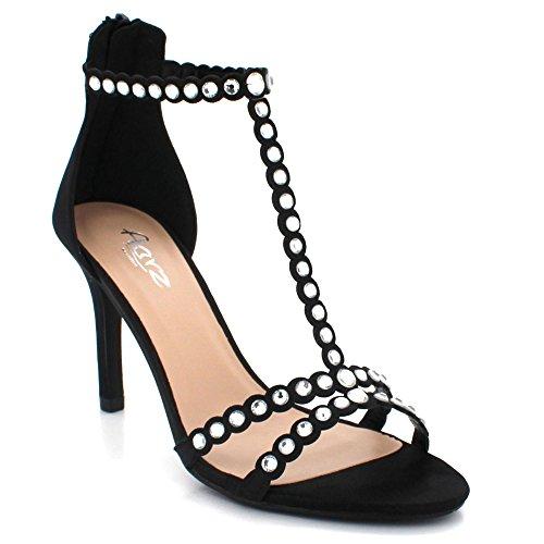 Chaussures Talon Noir Sandales Haut à Dames Mariage Cristal Soir des Fête Taille Diamante glissière Fermeture de Bal Femmes 8zFZnqz