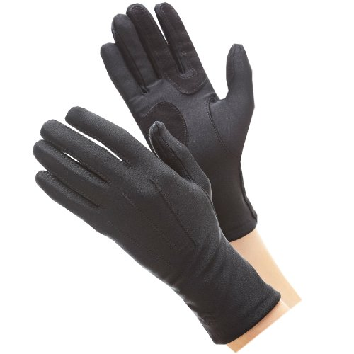 Ladies Leather Driving Gloves - Isotoner Black Classics Spandex Gloves w/ Warm lining