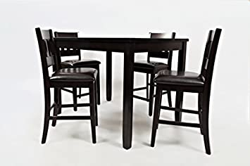 Jofran 923, Planation, 5 Pack Counter Height Set, Counter Height Table, 36 W X 48 D X 36 H, Barstool, 17 W X 18.5 D X 40 H, Dark Rustic Prairie Finish, Set of 1