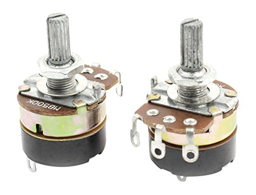 Uxcell a14071400ux0773 2 Piece B500K 500K Ohm Single Linear Rotary Switch Carbon Potentiometers