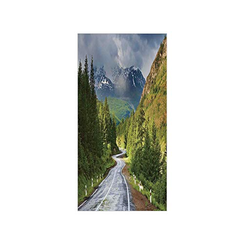 3D Decorative Film Privacy Window Film No Glue,Woodland Decor,Mountain Landscape with Road Cloudy Sky Pine Trees Forest Summer Rainy Day Scene,Green Gray Brown,for Home&Office