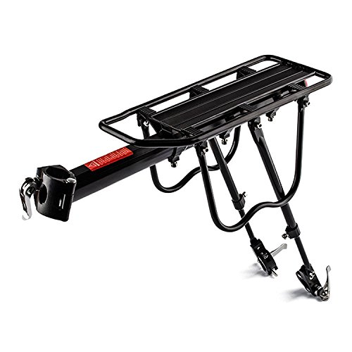 COMINGFIT Upgrade 110 Lb Capacity Aluminium Carrier Rear Bicycle Pannier Full Quick Release Rack with Reflector