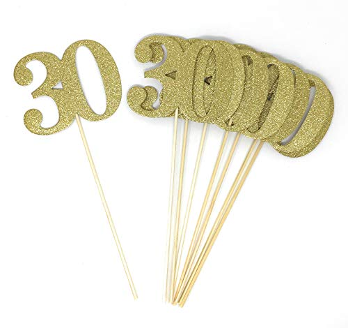 Set of 8 Number 30 Centerpiece Sticks for Thirty Anniversary Reunion 30th Birthday (Gold) -