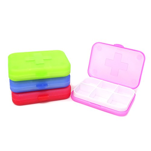 (Honbay 4PCS 6 Compartments Waterproof Plastic Pill Organizer Box Case for Daily or Travel Use)
