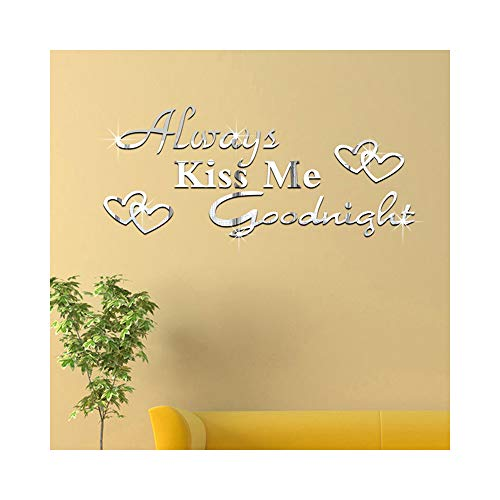 (Always Kiss Me Goodnight English Letters Hearts DIY Acrylic Mirror Effect Wall Stickers Bedroom Living Room Decorative Decals Removable Home Decoration Creative Design Wall Decor)