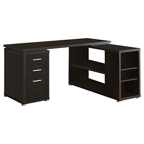 Corner L-shaped Office Desk (Monarch Specialties Hollow-Core Left or Right Facing Corner Desk, Cappuccino)