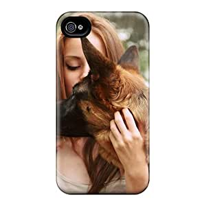 Fashionable Style Case Cover Skin For Iphone 4/4s- Girl With German Shepherd