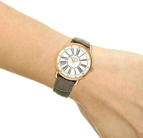 GUESS Women's Stainless Steel Quartz Watch with Leather Strap, Grey, 16 (Model: W1285L3)