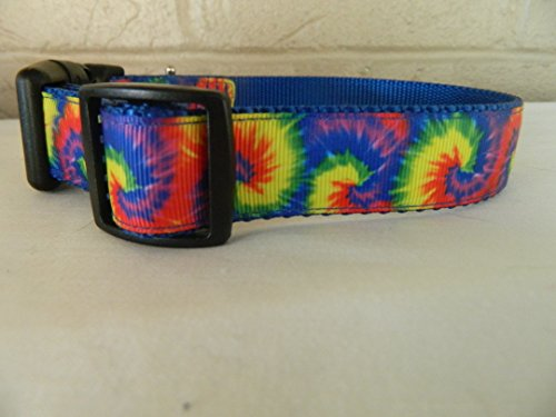 Schmoopsie Couture Bright Rainbow Tie Dyed Dog Collar (Extra Large (Hippy Dog)
