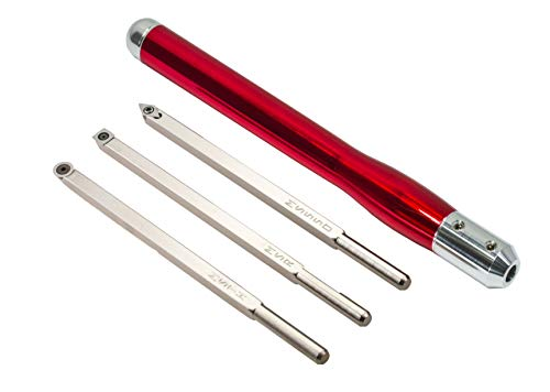 Simple Woodturning Tools COMBO: Mid Size Rougher, Turner & Hollower and Detailer Carbide Wood Turning Hand Tool Set with Interchangeable Handle for Wood Lathe (3 Tools w/Brilliant Red handle) USA Made (Tools Woodturning Carbide)