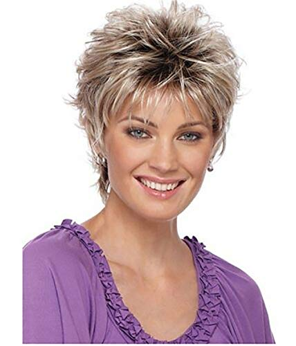 - Topgee Short Pixie Cut Ladies Wig Brown Mixed Golden Blonde Highlights Synthetic Haircut Layered with Bangs Wig For Mother