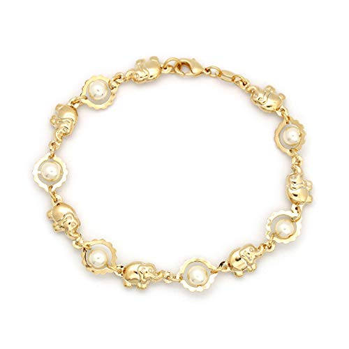 JEWELRY PARADISE Pearls & Elephant Charm Bracelets for Girls Young Teen 14kt Gold Filled-Plated Good Luck Yoga Success Protection Love Abundance Buddha Lucky Feng Shui Pulsera Elefante Perlas (6.5)