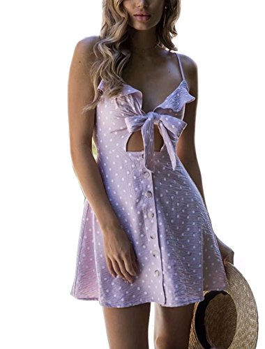Beach Neck YiKeZhiXiu Mini Spaghetti Backless Deep Dotpink Floral V with Dress Summer Strap Women's Print Lining 4rYS4qP