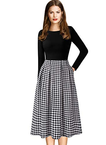 VFSHOW Womens Plaid Print Pockets Work Cocktail Casual Skater A-Line Dress 1620 BLK ()