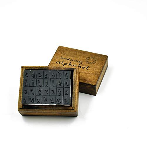 (28 Pcs Alphabet Stamps Vintage Wooden Rubber Letter and Symbol Stamp Set for DIY Craft Card Making Happy Planner Scrapbooking Supplies (Lower case))