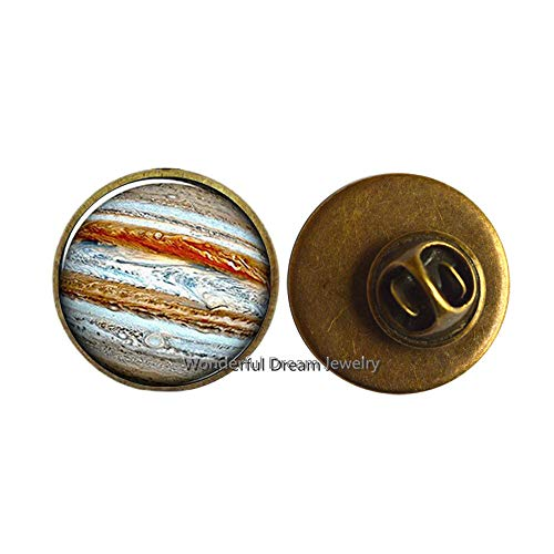 Jupiter Brooch, Planet Pin, Crystal Jewelry Galaxy Universe Science Dome Cabochon Brooch,PU196 (Brass)