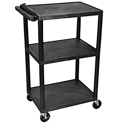"Luxor / H. Wilson LP42E-B Black 42"" Three Shelf AV Cart with Three Outlets and Cord"