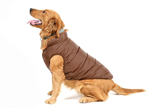 (PENIVO Pet Dogs Clothing, Winter Warm Coats and Jackets for Small Medium Large Dogs Cotton-Padded Two Feet Clothes (L, Brown))