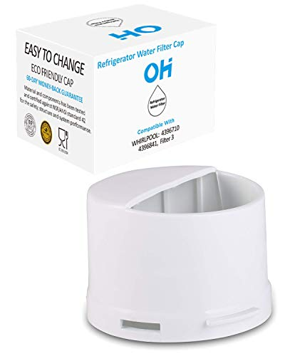 Whirlpool Filter Cap - Refrigerator Water Filter Cap Aftermarket Replacement For Whirlpool 2260518B and 2260502, Fits kenmore kitchenaid refrigerator wp2260518w, Black/White Matte by OH (white)