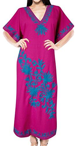 (LA LEELA Solid Ladies Caftan Plus Size Cover up Dress Maxi Pink_B458 OFM14-28W)