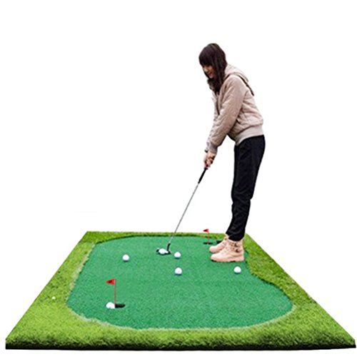 77tech Golf Putting Green System Professional Practice Green Long Challenging Putter Indoor/Outdoor Golf Simulator Training Mat Aid Equipment (5ftx10ft Large)