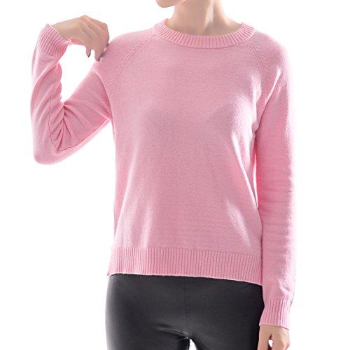 OYEAHGIRL Women Rabbit Cashmere Crew Neck Sweater Tops (Medium, (Pink Cashmere Crewneck Sweater)