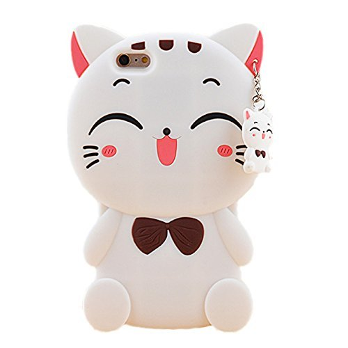 Mulafnxal Case for iPhone 4 4s,3D Soft Silicone Cases,Cute Cartoon Animal Fun Cover,Kawaii Character Unique Girls Kids Cool Protective Protector,Shockproof Rubber Shell iPhone4s White Lucky Cat